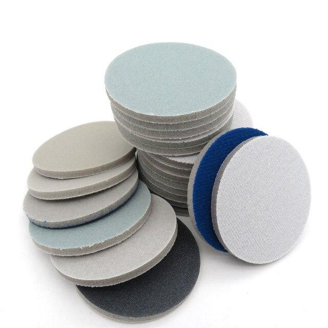 """1 """"1.2"""" 2 """"3"""" 4 """"5"""" 6 """"sünger köpük zımpara diski 300 3000 Grit kanca döngü parlatma zımpara kağıdı kendinden yapışkanlı aşındırıcı aletler"""