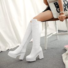 Warm Faux Fur Winter Women Knee High Boots Platform Thick Heel Female Footwear Fashion Side Tall Boot Black White
