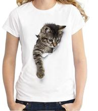 a564281f283 OLOEY Hole in cat T Shirt Women Printing Plus Size Short Sleeve T-shirt  Tops Tee bts