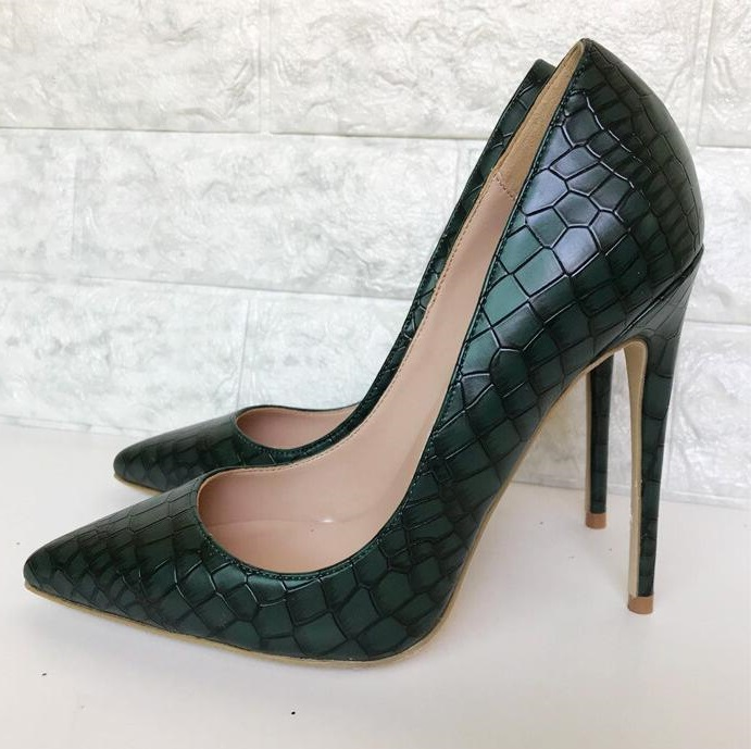 New Arrivals Black Snake Print Leather Pumps Stiletto Heels Banquet Shoes Slip-on 12MM Women High Heels Party Dress Shoes