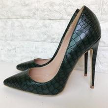 95908e055866 New Arrivals Black Snake Print Leather Pumps Stiletto Heels Banquet Shoes  Slip-on 12MM Women