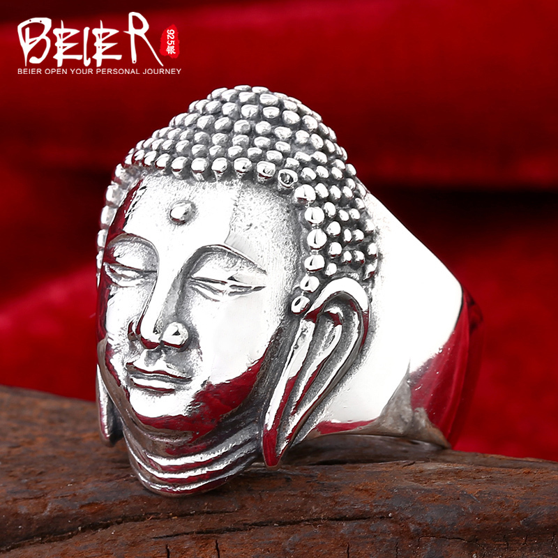 Beier 925 silver sterling jewelry 2015 masculion finger ring fashion chinese buddha man ring D0836 beier 925 silver sterling jewelry 2015 men s retro domineering ring animal ring super big dragon man ring d1234