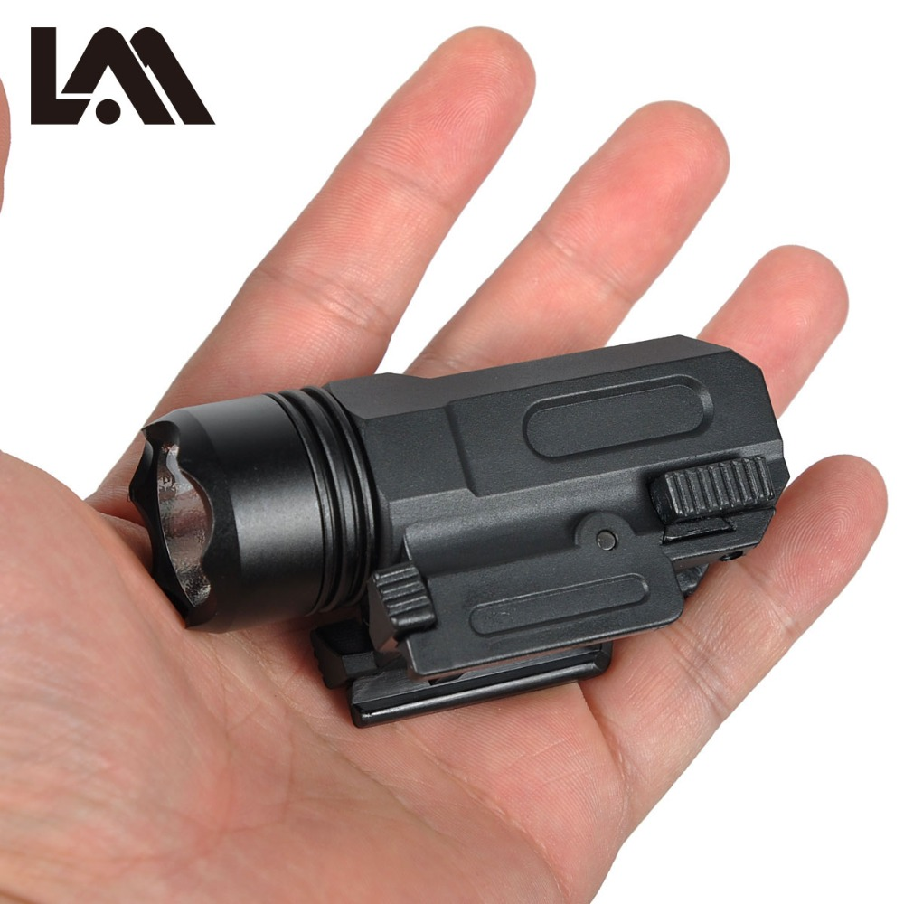 LAMBUL Airsoft Mini Pistol Light QD Quick Detach Handgun Flashlight LED Rifle Gun Tactical Torch for 20mm Rail Glock 17 19 18C