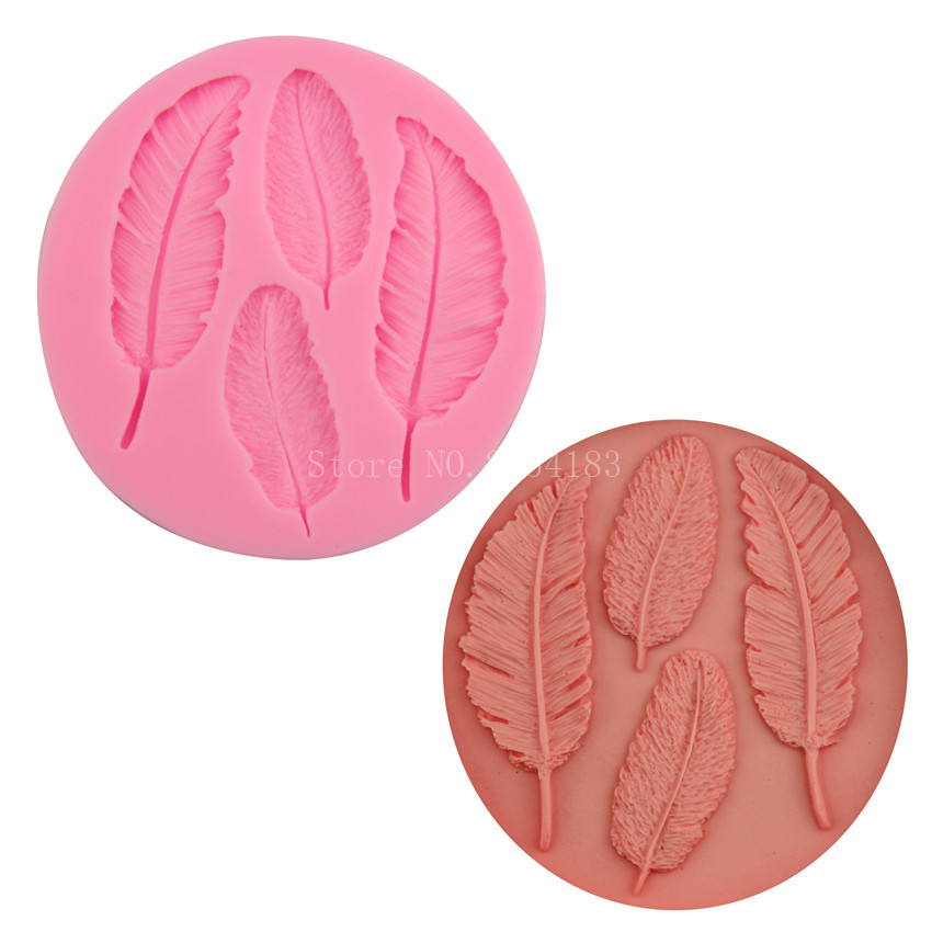 4 hold Animal feather Silicone Fondant Soap 3D Cake Mold ...
