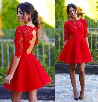 4dece04be 2019 Venta caliente rojo De cuello alto Vestidos cortos De regreso a casa media  manga ahuecados espalda De encaje vestido De graduación Vestidos De ...