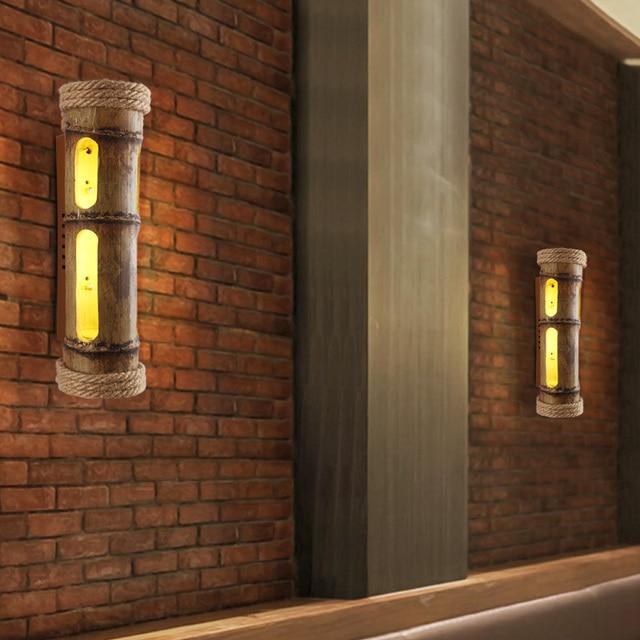 Loft Industrial Wall Lamps Wind Wall Bar Cafe Restaurant Wall Art Creative  Personality Hemp Bamboo Wall