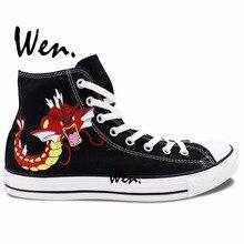 Wen Design Custom Hand Painted Anime Shoes Pokemon Carp Pocket Monster Gyarados Magikarp High Top Woman Man's Canvas Sneakers