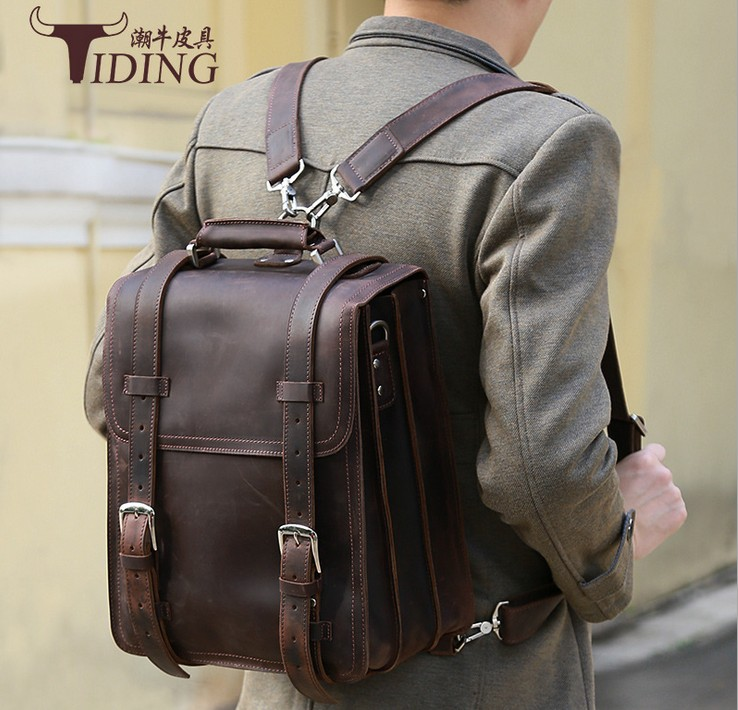 man backpack cow leather 2017new business men travel causal vintage big real leather fashion brand backpack bags genuine leathe