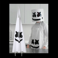 New In Cooking With Marshmello Cosplay Marshmello White Apron Costume DJ Music Fans Props Restaurant Kitchen