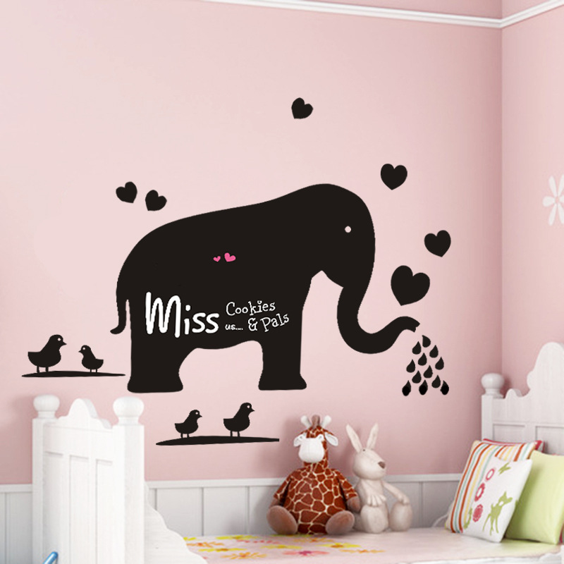 Cartoon Elephant Blackboard Chalk Board Vinyl Wall Sticker Animal Stickers Wallstickers for Kids Baby Rooms Decal Retro Poster