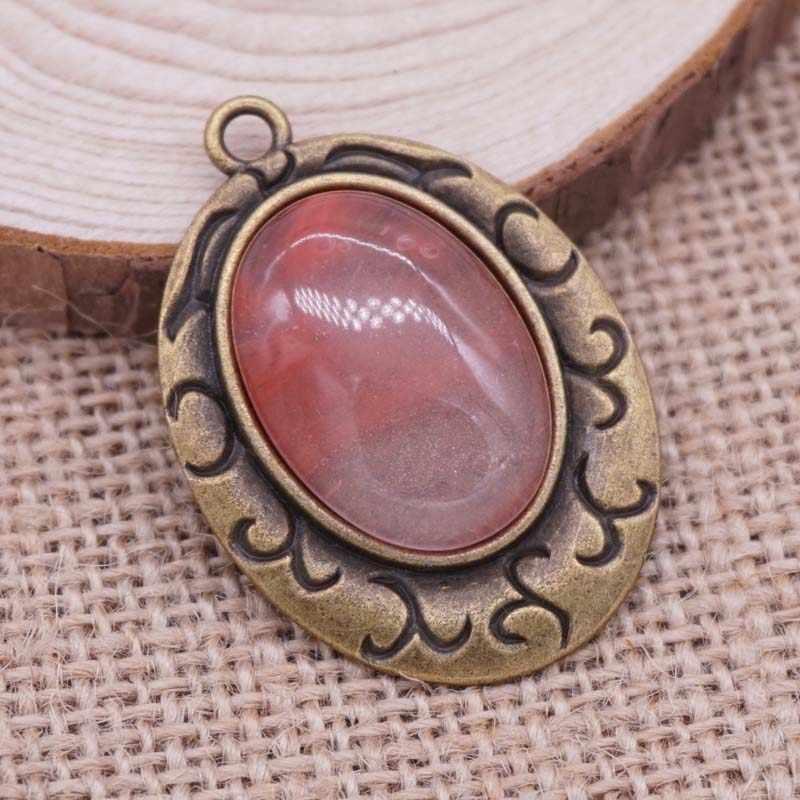 Wholsale Natural Stone Pendant Oval Shape Cabochon Stone /Opal/Tiger Eye Sone 23*34mm