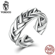 VOROCO Fine Jewelry 925 Sterling Silver Triple Twisting Braided Band Party Rings Cuff Open Adjustable Stackable Ring for Women