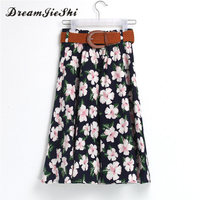 Dreamjieshi Vintage Floral Print Medium Skirts Women Summer Cute Girl Sweet Knee Length Skirt Elastic Waist