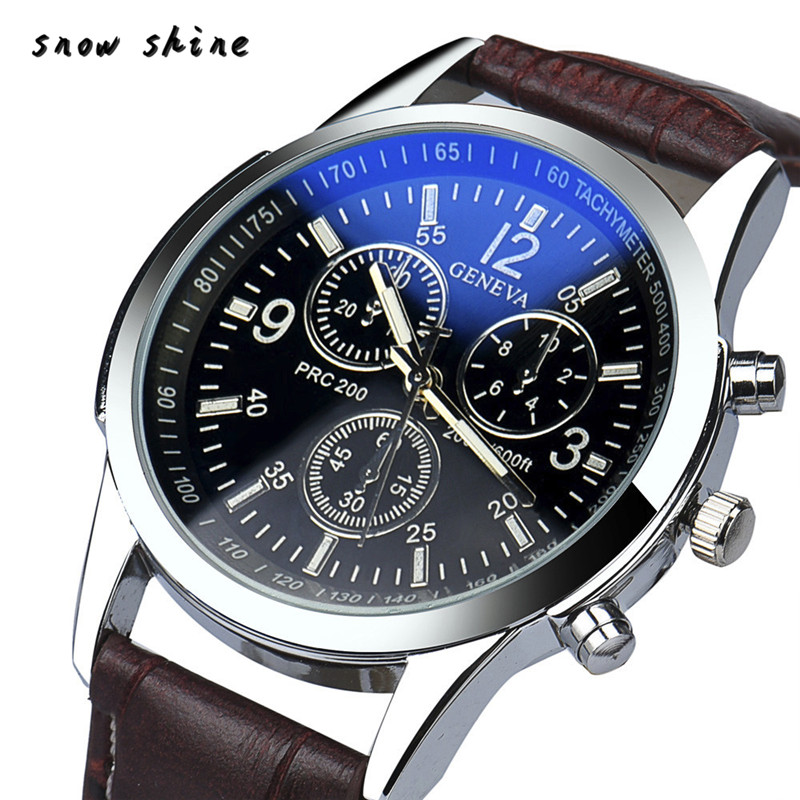 snowshine 10 men font b Luxury b font Fashion Faux Leather Mens Analog Watch Watches free