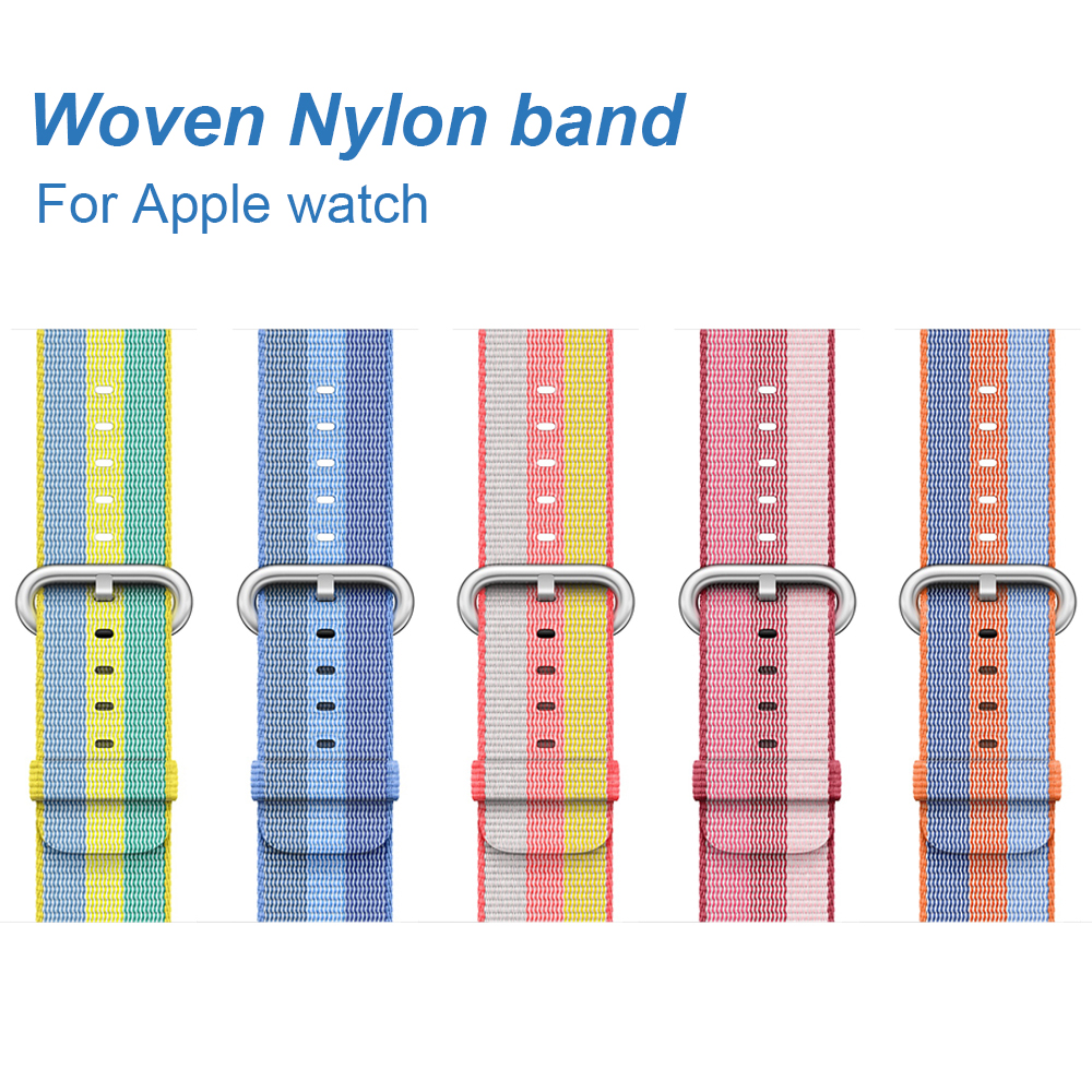 Hit color Woven Nylon band for Apple watch series 2 / 3 Fashion replacement bracelet strap watchband for iWatch 42mm 38mm bands
