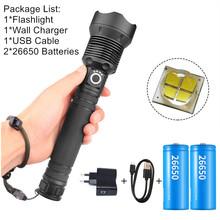 USB potężny xhp70 2 Flaslight Torch 50000 lumenów lampy akumulator zoom led latarka taktyczna xhp70 xhp50 18650 lub 26650 baterii tanie tanio Latarki 500 metrów 5-8 plików Inne Hunting Camping Fishing Wysoka średnim niskie Czarny Litowo jonowy 18650 Kabel usb do ładowania