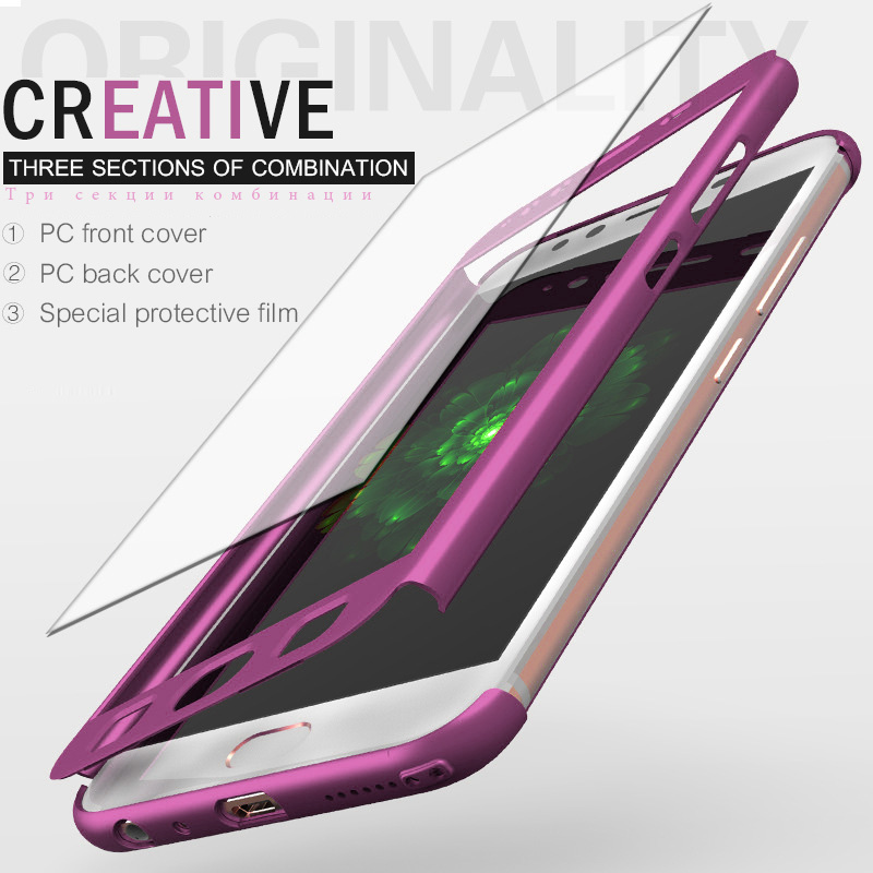 Luxury 360 Protect Cases For Samsung Galaxy S8 S9 Plus S7 a5 a3 2017 a7 2016 Cover Case For Galaxy S7 edge Note 8 with glass