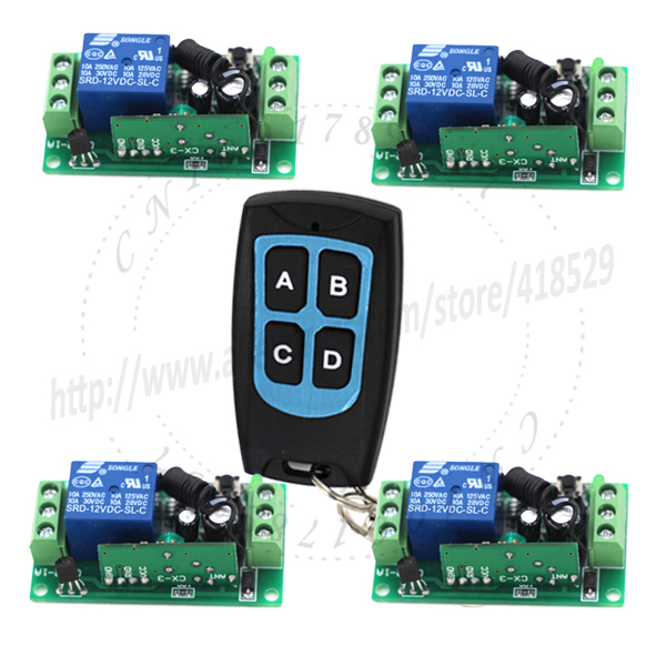4CH Channel Wireless Remote Control radio relay 12v Switch 315/433mhz Transmitter 4 Receiver 150m High Sensitivity SKU: 5102