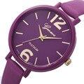 10 Colores Pulsera de Las Mujeres Reloj de Ginebra Famosos Señoras de la marca de Imitación de Cuero de Cuarzo Analógico Reloj de Pulsera Reloj de Las Mujeres relojes mujer 2016