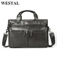 WESTAL Briefcase Men Leather Luxury Handbags Men Bags Genuine Leather Laptop Brown Designer Business Fashion Briefcases