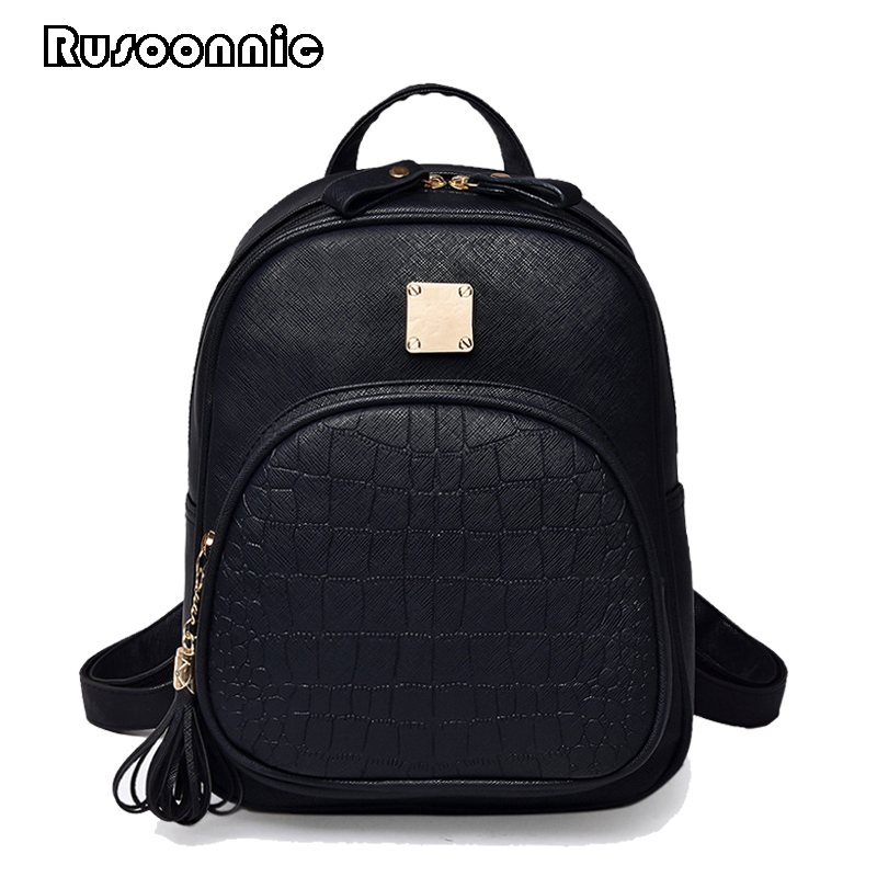 Rusoonnic Backpack Women High Quality Pu Leather Backpack School Bag Bagpack Mochila Feminina Alligator mochila feminina ed 404 200
