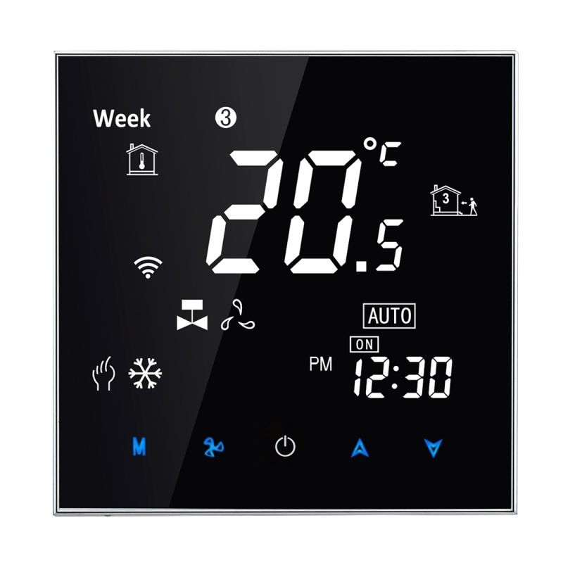 Temperature Controller 220V 5A AC Water Air Conditioning Touch LCD Digital Valve Fan Heating Room Thermostat Humidity Display 220v digital air humidity control controller wh8040 range 1