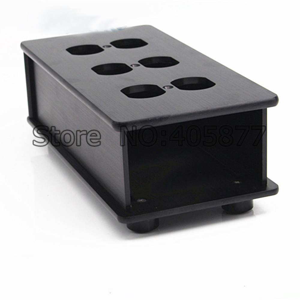 HIFI Black and White AC US Power Strip Distributor Aluminum 6 Outlet Box ChassisHIFI Black and White AC US Power Strip Distributor Aluminum 6 Outlet Box Chassis