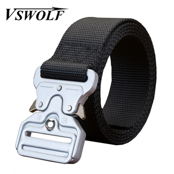 Fashion Nylon Belt 135 Long Ceinture Outdoor Military Tactical Canvas Waist Strap Silver Metal Buckle Camo  Men Trendy