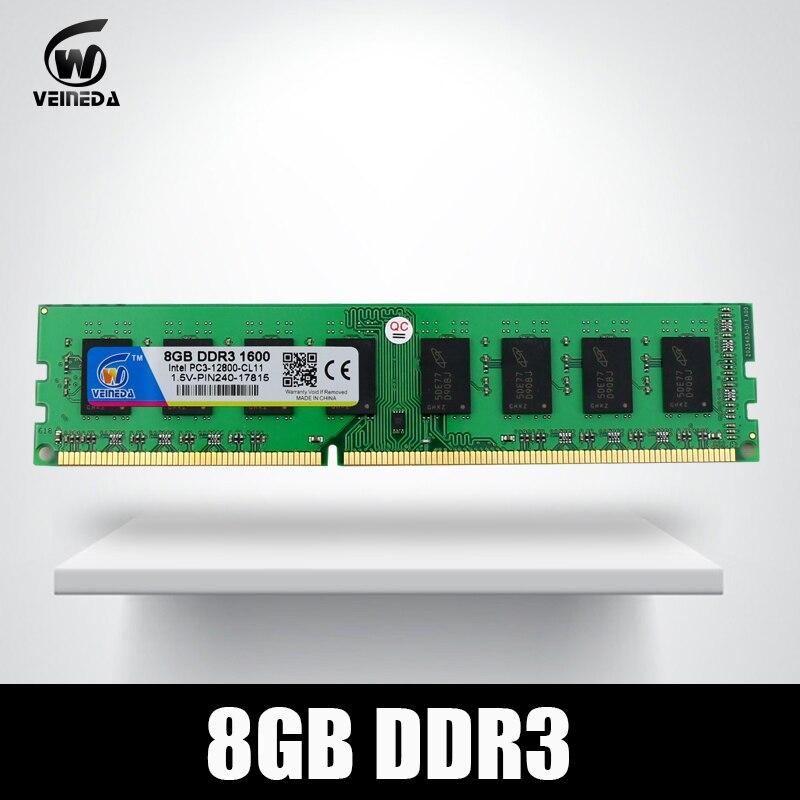 VEINEDA Memoria 16 gb ddr3 2X8 gb Dimm Ram ddr3 1600 pc3-12800 pour Intel AMD bureau Mobo
