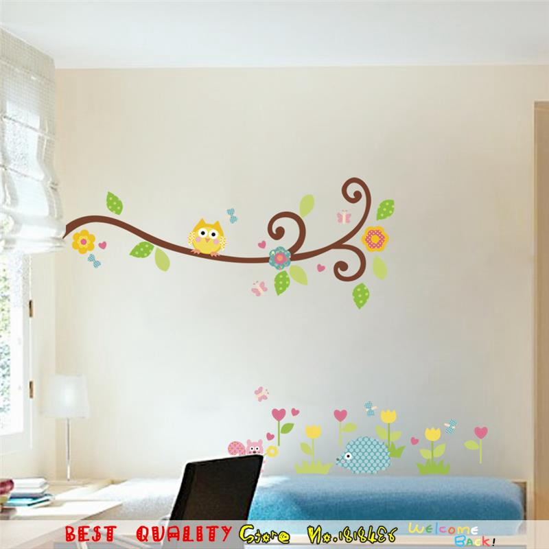 Owls Waterproof Removable Wall Stickers Henna Tree Flowers Wall