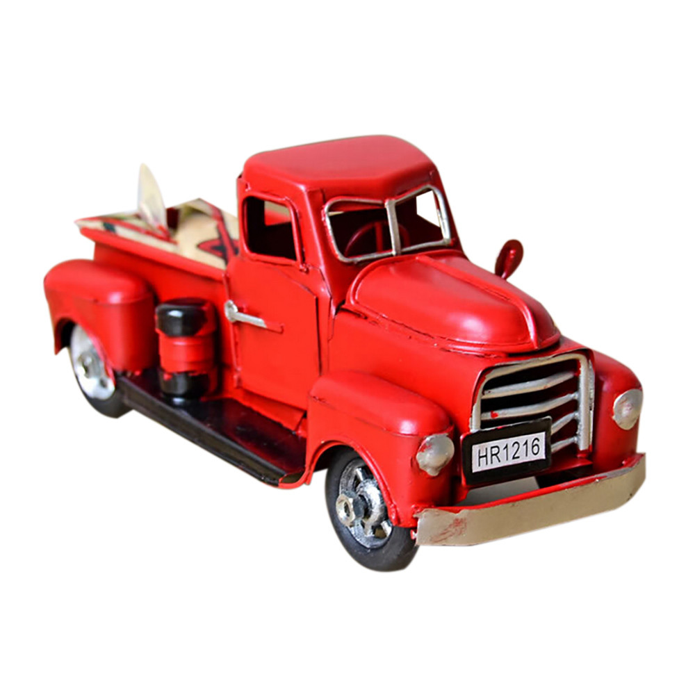 Us 7 76 37 Off Diecast Model Toy Vintage Red Metal Truck Christmas Ornament Kids Xmas Gifts Toy Action Figure Table Top Decor Toys For Children In