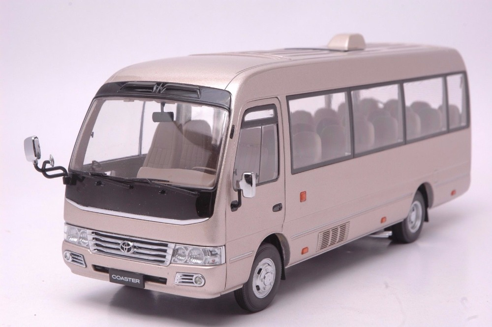 1 24 Diecast Modelo Para Toyota Coaster Oro Aleacion Bus Coche De