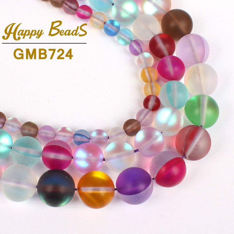 Fashion Beautiful Frosted Matte Multicolor Flash Crystal Round Loose Beads Diy Necklace Bracelet Making Jewellery Jewelry
