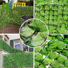 ULAND 1m*3m Artificial Ivy Leaf Faux Panels Plastic Synthetic Hedge Wall Cover Green Privacy Screen Fence Balcony Garden Decor