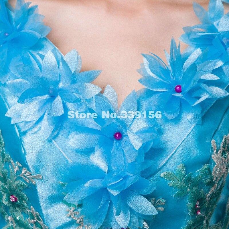 Clair Soie 2016 Partie De Marie Vente Pu Chaude Court Ciel Robe Bal Antoinette Manches Robes Bleu Scène Performance Appliques AftvxqCwf