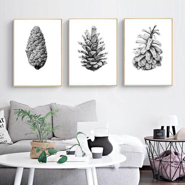 Sketch Hand Draw Plants Wall Art Canvas Posters And Print Black White  Painting Wall Pictures For