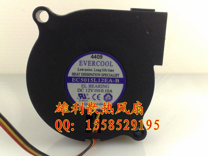 Original EVERCOOL EC5015L12EA-B 12V 0.10A 5CM 5015 3 -line Fan