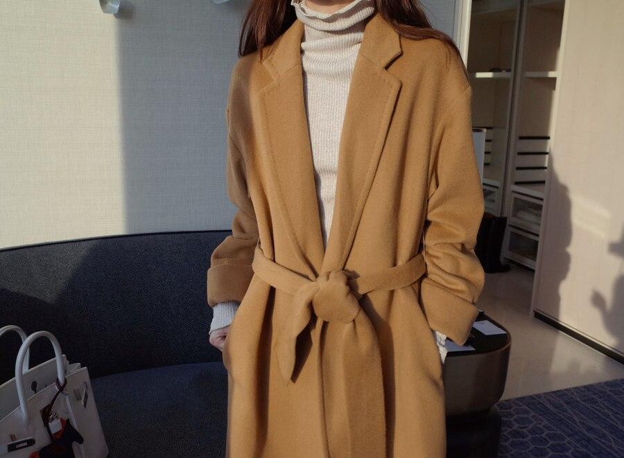 2019 New Arrive Brand Women Cashmere Coat Warm Autumn Winter Overcoat Belt Full Sleeve Coats Woman Casual Casaco Feminino GQ1650 - 6