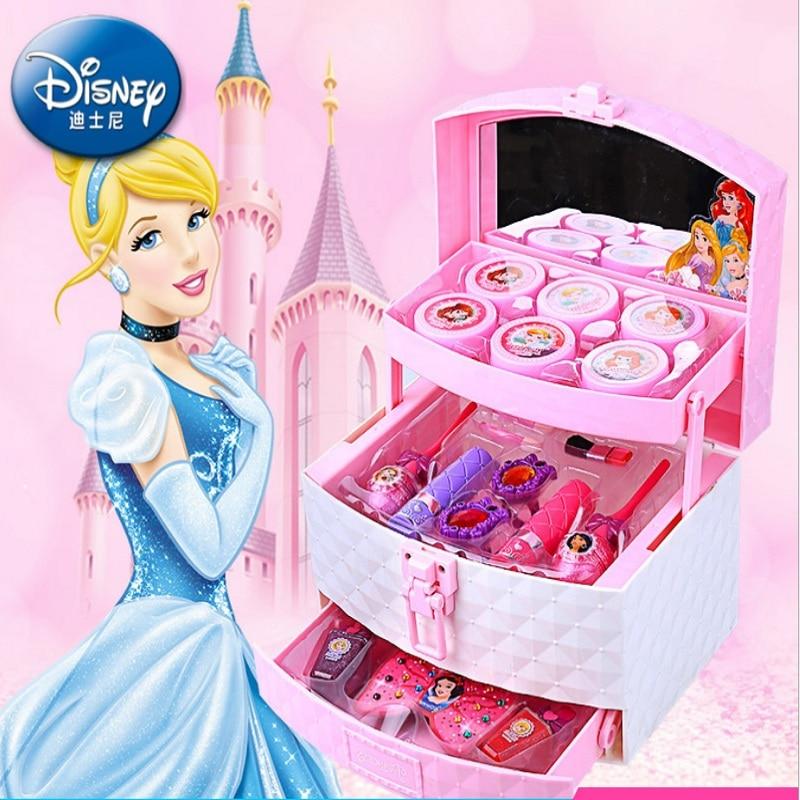 Набор игрушек для девочек Дисней , коробка для девушек, губная помада, тени для век, нетоксичные лаки для ногтей, игрушки для девочек принцес