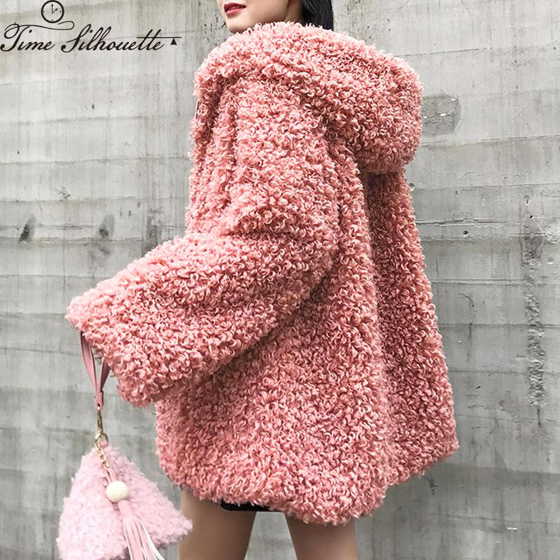 Winter Faux Lambswool Jacket Women Outerwear Furry Fake Fur Zipper Coat Jackets 2019 Casual Thicken Warm Furry Overcoat L11