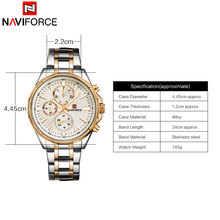 2018 NAVIFORCE  Men 30M Waterproof Sports Watches Mens 24 Hour Date Week Month Stainless Steel Quartz Watches Relogio Feminino