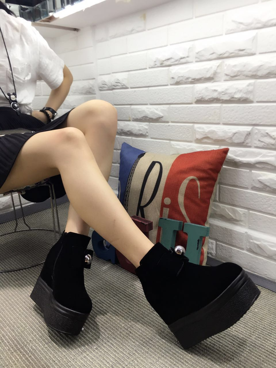 ФОТО New winter boots slope with thick crust Shoes increased within nightclub Waterproof high with women's boots