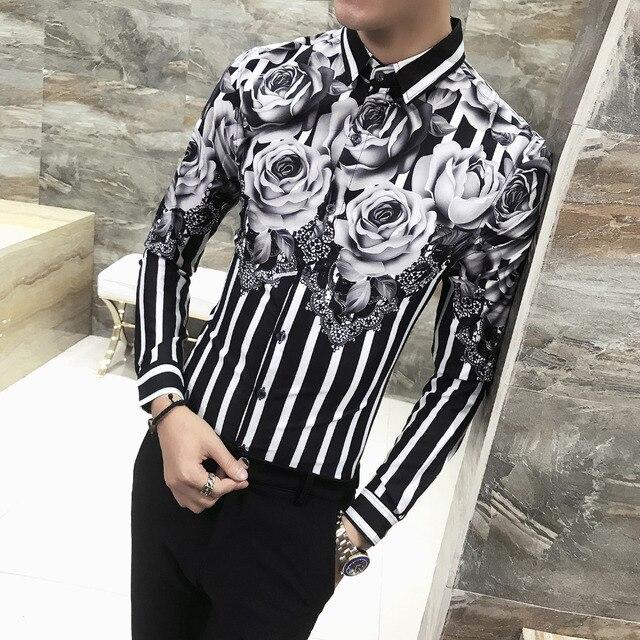 Высокое качество Для мужчин рубашка Мода 2018 осень новый роскошный Цветочный принт рубашки Для мужчин с длинным рукавом Slim Fit Повседневное Полосатые рубашки