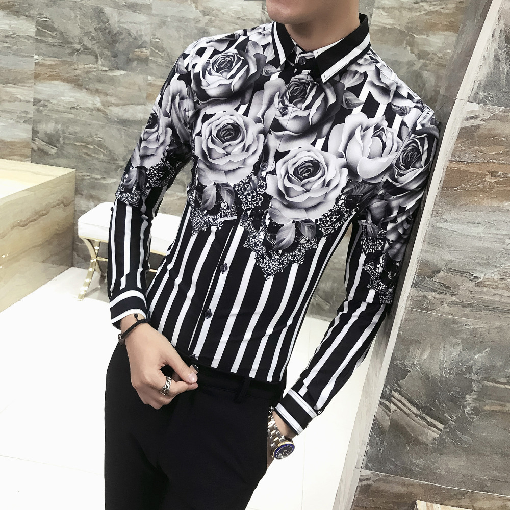 2019 Spring Floral Shirt Men Brand New Men Shirt Long Sleeve Simple Gentlemen Streetwear Mens Shirts Casual Slim Fit Prom Tuxedo