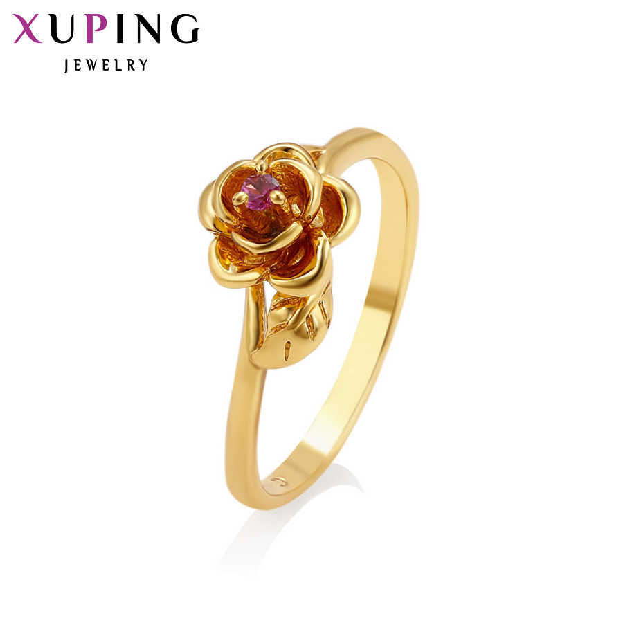 Xuping خاتم عصري جديد أريفا خواتم حفلات الزفاف لون الذهب الخالص مطلي مجوهرات هدية للنساء عيد الميلاد S36.1-12606