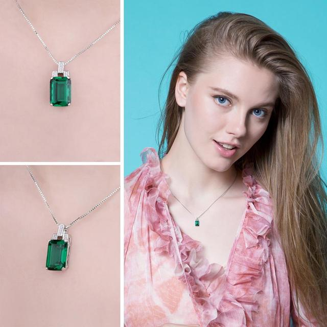 Jpalace 6ct Simulated Nano Emerald Pendant Necklace 925 Sterling Silver Gemstones Choker Statement Necklace Women Without Chain 3