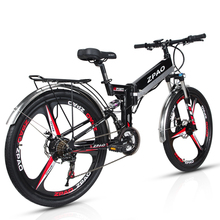 ZPAO 26 Inch Folding Electric Bicycle, 48V 10.4Ah Lithium Battery, 350W Mountain