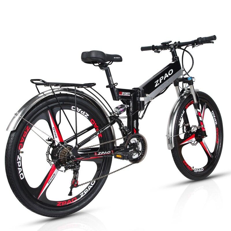 ZPAO 26 Polegada Dobrável Bicicleta Elétrica, Bateria De Lítio 48 V 10.4Ah, Mountain Bike 350 W, 5 grau Pedal Auxiliar, Garfo de Suspensão