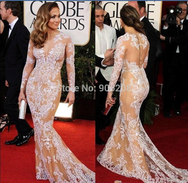 2017 Free Shipping Custom Made Lace Long Sleeve Celebrity Dress Beauty Mermaid Red Carpet Dresses