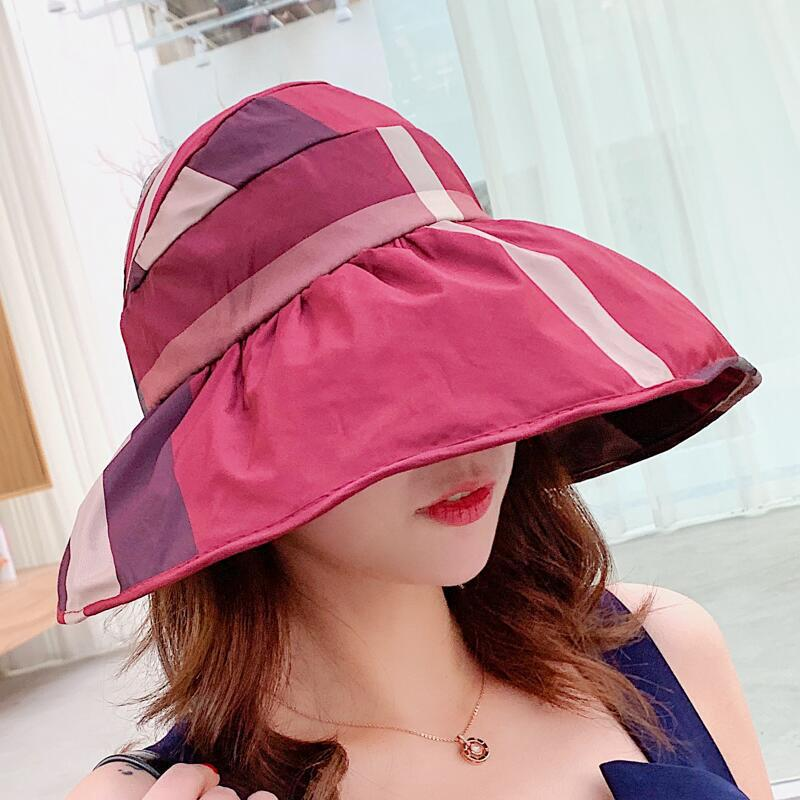 Beach Cap Sun Bonnet Visor Empty Top Hat Female Summer Sunscreen Folding Big Sun Hat For Girl Hat Lovely Stripe Pattern Cap